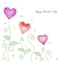 Greeting card  with drawn  hearts  and plants for Valentine's Day, weddings, Mother's Day