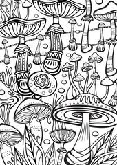 Mushrooms Coloring antistress book page