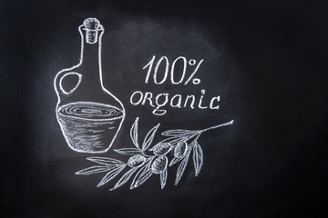 Hand Drawn Chalk Illustration on Blackboard with Composition of Olive Oil Bottle Tree Branch Hand Lettering Organic. Menu Poster Recipe Concept.