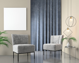Mock up interior background with velvet armchairs, scandinavian style, 3d render