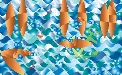 Abstract boat fantasy, at night Fantasy illustration, background vector. Waves anchor seagulls