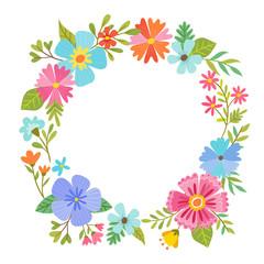 Round floral frame design.