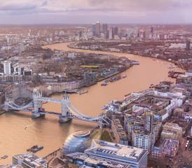 Aerial view of Tower Bridge, London, UK