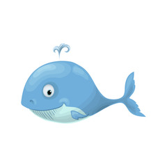 Cute baby whale in a sailor suit cartoon hand drawn vector illustration