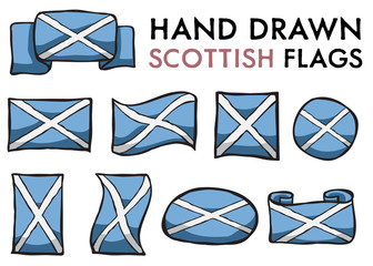 Set of Scottish Hand Drawn / Doodled  National Flags. High-Quality Vector Illustration. Grouped, Ready To Use!