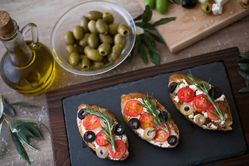 Italian bruschetta on plate for snack.