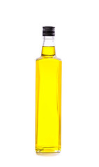 bottle of olive oil isolated on white.