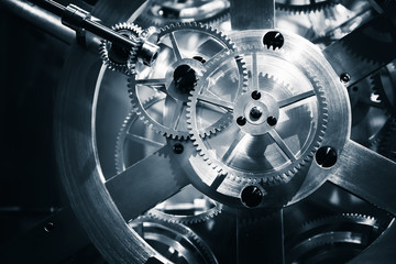 Vintage clock mechanism, close-up fragment
