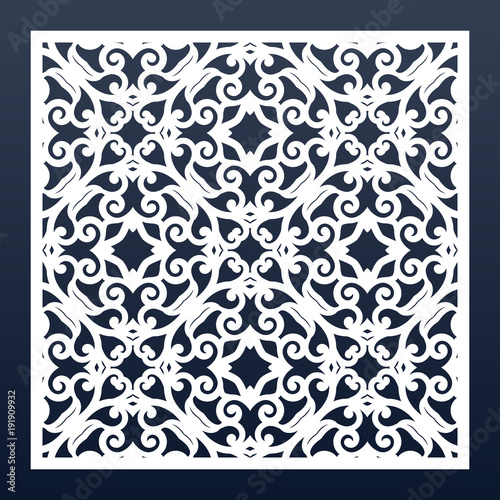 Square Ornamental Template For Laser Cutting Or Wood Carving Decorative Panel With Lace Pattern