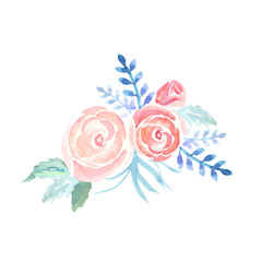 Watercolor roses, vector. Bouquet of flowers, an element for decoration, gentle background for invitations or greeting cards.