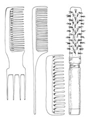 set of combs. Barber accessories. The sketch marker. Vector