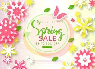 Spring sale banner. Beautiful Background with paper flowers and butterfly. Vector illustration for website , posters, email and newsletter designs, ads, coupons, promotional material.