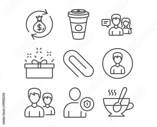 Set Of Present Box People Talking And Couple Icons Money Exchange