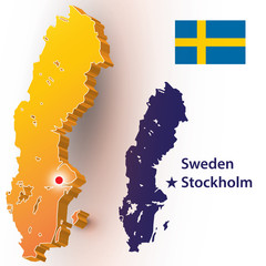 Map of Sweden. Vector silhouette of the Swedish flag. The country's capital - Stockholm.
