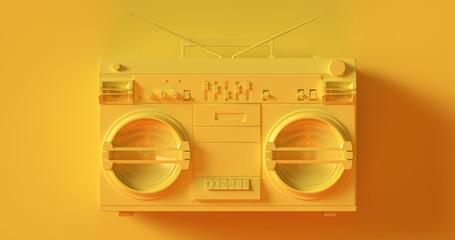 Yellow Boombox 3d illustration