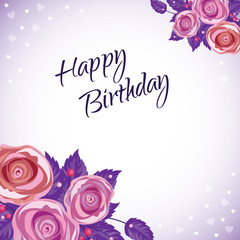 Lettering Happy Birthday Hand-drawn card with flower. Vector illustration