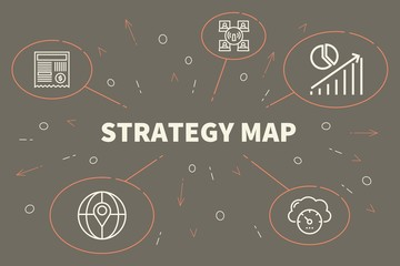 Conceptual business illustration with the words strategy map