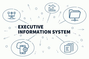 Conceptual business illustration with the words executive information system