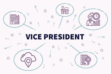 Conceptual business illustration with the words vice president