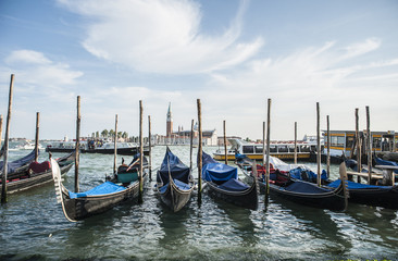 the famous gondolas in Venice moored in the lagoon