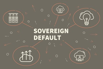 Conceptual business illustration with the words sovereign default
