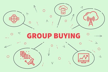 Conceptual business illustration with the words group buying