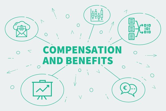 Conceptual business illustration with the words compensation and benefits