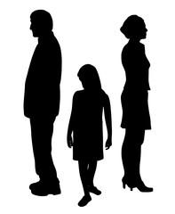 Sad unhappy child standing between two divorcing parents