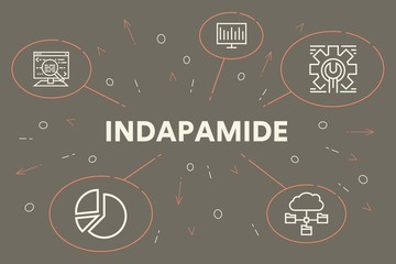 Conceptual business illustration with the words indapamide