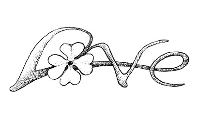"""Symbols for Fortune and Luck, Illustration Hand Drawn Sketch of Fresh Three Leaf Clover Plants or Shamrock With """"Love"""" Word for Valentine's Day and St. Patricks Day Celebration."""