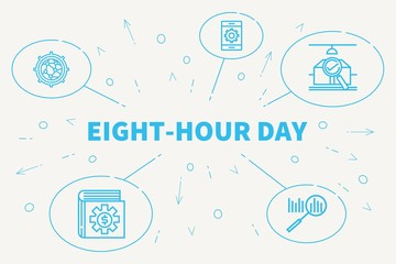 Conceptual business illustration with the words eight-hour day