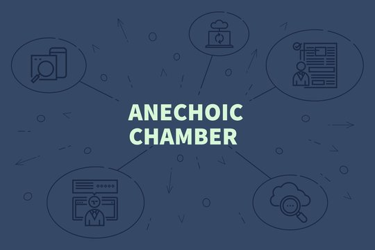 Conceptual business illustration with the words anechoic chamber