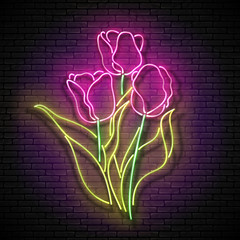 Vintage Glow Signboard with Bouquet of Tulips. Flowers on Brick Wall, Greeting Card Template. Shiny Neon Light Poster, Flyer, Banner, Postcard, Invitation. Vector 3d Illustration. Used Clipping Mask