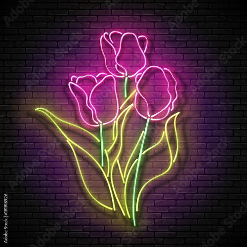 Vintage glow signboard with bouquet of tulips flowers on brick wall vintage glow signboard with bouquet of tulips flowers on brick wall greeting card template stopboris Choice Image