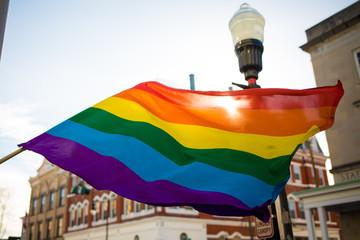 LGBT rainbow flag outside in the sun