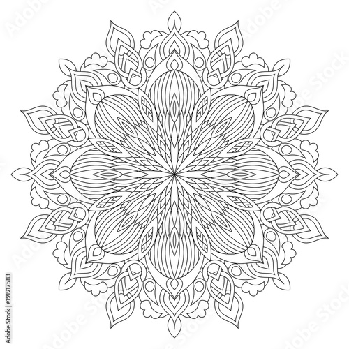Flower Circular Mandala For Adults Coloring Book Page Design Anti Stress Black And White