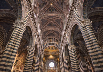 Amazing interior of Siena cathedral of Saint Mary Assumption in Tuscany, Italy