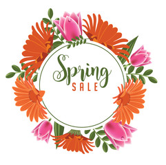 Spring sale banner design. Circle with spring flowers, plants, leaves and copy space decoration. EPS10 vector illustration.