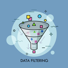 Concept of digital data filtering, electronic information selection and sorting.