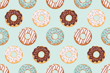 Seamless pattern with glazed donuts. Blue and beige colors. Girly. For print and web.