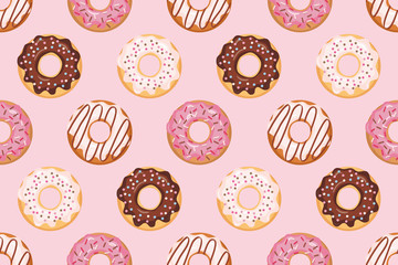 Seamless pattern with glazed donuts. Pink colors. Girly. For print and web.