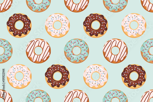 seamless pattern with glazed donuts blue and beige colors girly for print and - Pictures For Print