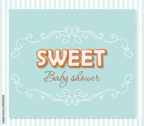 Baby Shower Greeting Card For Boys Elegant Frame With Sweet Letters