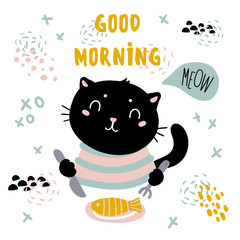 Good morning cat card. Cute home pet have breakfast and wears stripped cloth. Fluffy black kitten uses fork and knife to eat fish from the plate. Meow text. Vector flat cartoon style illustration