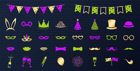 Collection of colourful party, photobooth and carnival elements. Vector.