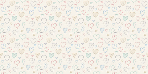 Background with hand drawn hearts. Cute seamless pattern. Vector.