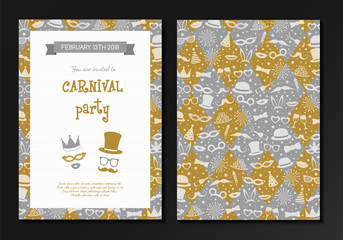 Carnival Party - design of a two sided invitation. Colourful cards. Vector.