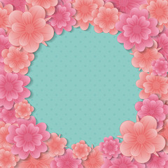 Background with colourful flowers - template of a poster with copyspace. Vector.