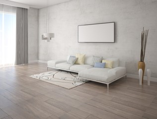 Mock up poster of modern living room with fashionable sofa and stylish hipster background.