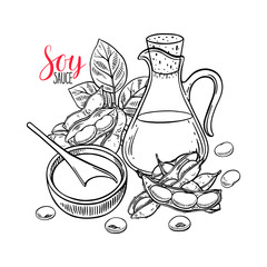 background of soybeans and soy sauce